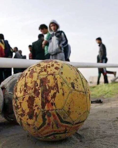 The ball of the Iraqi local football team that's killed by ISIS suicidal attack Prayforiraq Pray For Belgium Prayforparis Iraq Baghdad