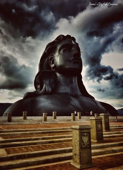 Cloud - Sky Statue Sky Sculpture Human Representation Male Likeness Low Angle View No People Day Outdoors Built Structure Lord Shiva Divine Beauty IPhoneography Scenics Dramatic Sky Low Angle View