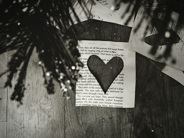 Close-up of text on heart shape on wood