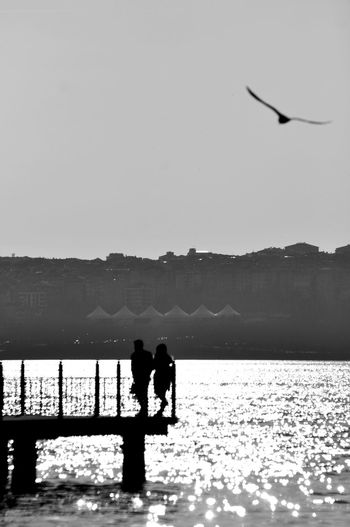 Silhouette people standing by railing on pier over lake against clear sky