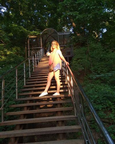 Tree Full Length Young Women Railing