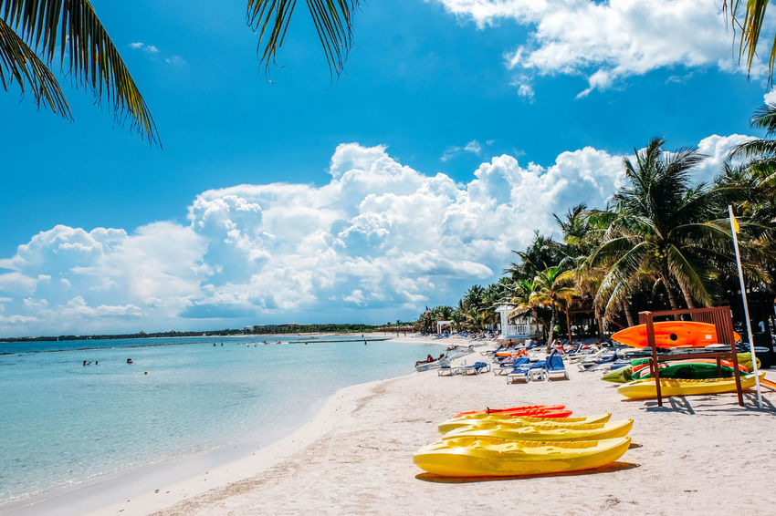 Beach Life Mexico Beach Beauty In Nature Cloud - Sky Coconut Palm Tree Horizon Over Water Inflatable  Kayak Land Mode Of Transportation Nature Outdoors Palm Tree Sand Scenics - Nature Sea Sky Surf Board Transportation Tree Tropical Climate Vacations Water