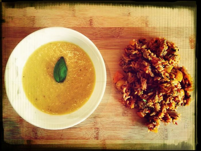 Mexican Spiced Corn Soup with Tomato And Capsicum Cumin Rice