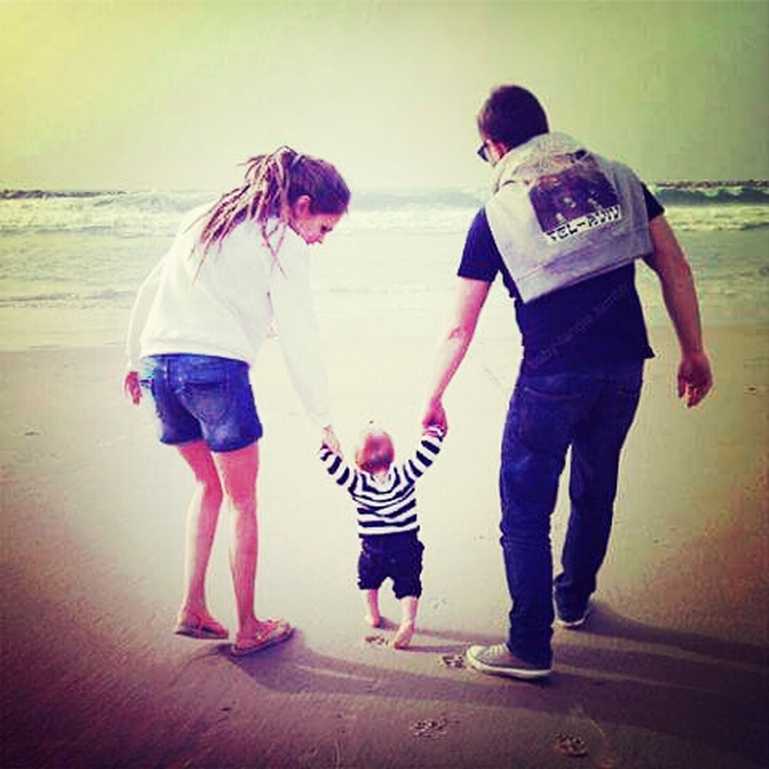 childhood, lifestyles, full length, casual clothing, boys, leisure activity, girls, standing, elementary age, rear view, walking, togetherness, love, bonding, beach, person, day
