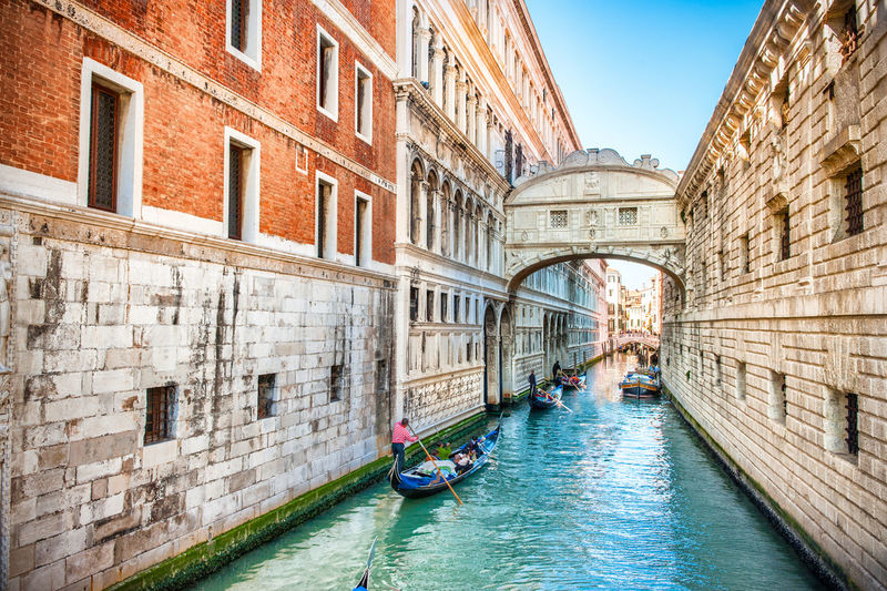 Gondolas in grand canal amidst old buildings