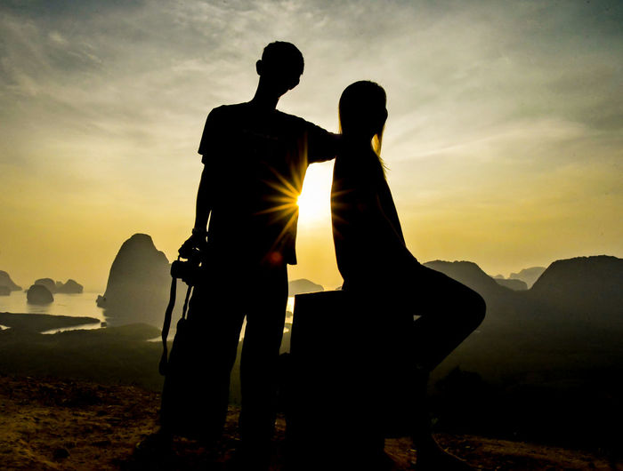 Beauty In Nature Cloud - Sky Couple - Relationship Love Men Mountain Nature Outdoors People Positive Emotion Real People Scenics - Nature Silhouette Sky Standing Sunset Two People Women EyeEmNewHere