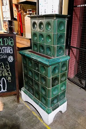Old calefactor Old Stove Calefactor Stove Architecture Container Day Built Structure No People Building Exterior Outdoors Green Color Metal Building Street Old