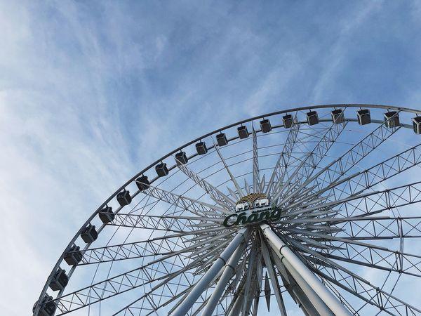 IPhoneography IPhone7Plus VSCO Sky Low Angle View Amusement Park Ride Amusement Park Arts Culture And Entertainment Ferris Wheel Blue