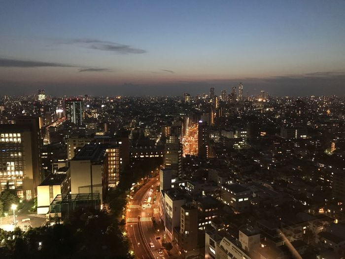 Cityscape Illuminated Architecture City Skyscraper Building Exterior Night Built Structure Sky High Angle View Road Outdoors No People City Tokyo Night