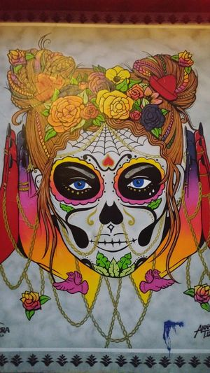 Tradition No People Looking At Things Mask_collection Color Splash Travel Photography Streetart/graffiti Urban Exploration Outdoors Dia De Los Muertos Graffiti Art From My Point Of View