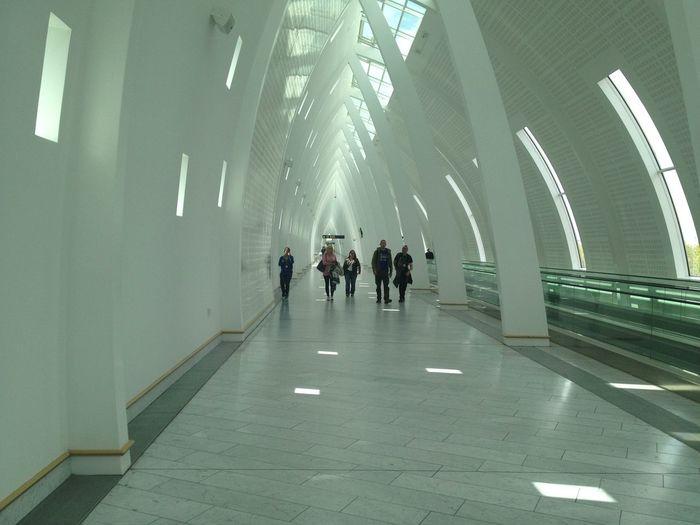People walking on tiled floor