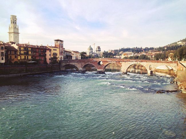 Verona Verona Italy Veneto Italy Adige Adige River Ponte Pietra Bridge - Man Made Structure Water Architecture Built Structure Waterfront Sky River City Building Exterior Outdoors Travel Destinations Day No People Connection Nature 14/365 One Year Project Day 14