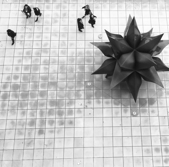 From an overhang at The Whitney Museum WestVillageNYC Streetphotography Manhattan Iphonephotoacademy Iphonephotography NYC IPhoneography Iphone6 NYC Photography Lookingdown Museum Sculpture Black&white IPS2016Street