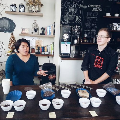 Its all about coffee with @rosjuanxi of @communeph and Evan Gilman, licensed Q grader during the CoffeeCuppingSession held yesterday. CommunePh CommuneCoffeeSessions
