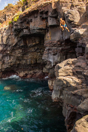 Be Brave High Beach Cliff Jumping Outdoors Rock Sea Summer Water