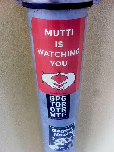 ‼️ Mutti Is Watching You ‼️ | Sticker / Stickerart / Sticker Art | Gpg / Tor / OTR / WTF | Bundeskanzlerin Angela Merkel @ Habersaathstraße 19,