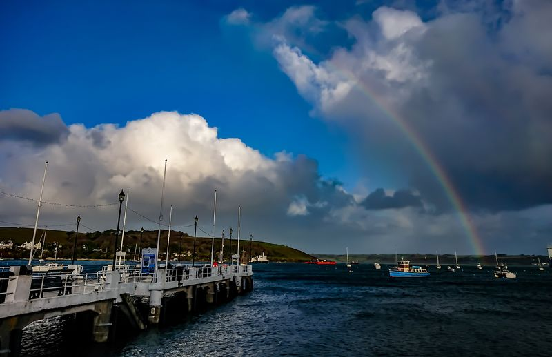 A Rainbow at the end of every Pier Falmouth Pier Rainbow Sky Rainbows Rainbowsunset Rainbowsky Cloud - Sky Water Sea Outdoors No People Travel Destinations Sky Nautical Vessel Nature Scenics Day Beauty In Nature Harbor Building Exterior Sailing Ship