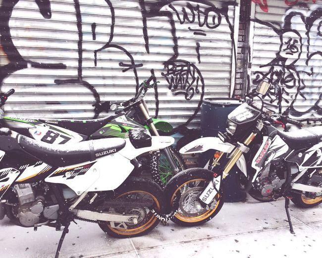 Motorcycles Motorbikes Garage Graffiti On Garage Graffitti Snow On Motorbikes Snowing Again In NYC Brooklyn Brooklyn Motorcycle Brooklyn Streets Motorbikes Chained