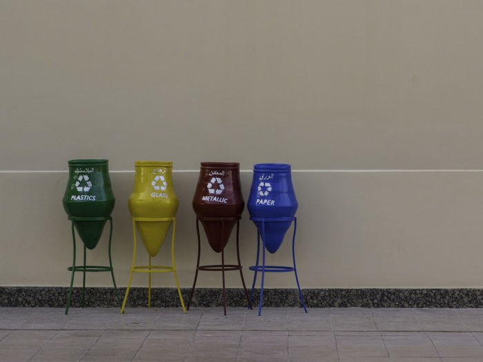 Bin Blue Communication Day Egypt Egyptian Indoors  No People Recycling Bin Recyling Selective Sorting Trash Yellow