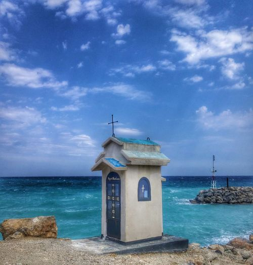 Sea Beach Horizon Over Water Sky Building Exterior Water Cloud - Sky Lighthouse Vacations Blue Travel Destinations Built Structure Summer Architecture Outdoors Sand No People Day Lifeguard  Wave GREECE ♥♥ Agiokampos