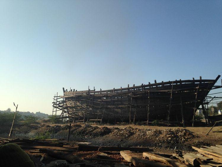 Shipbuilding in Gujarat, India Architecture Clear Sky Construction Construction Site No People Ship Ship Building Shoreline