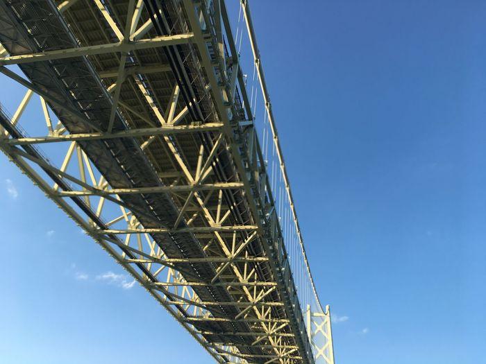 Akashi Kaikyo Bridge 明石大橋 Japan Awajishima Sky Low Angle View Built Structure Metal Blue Architecture Clear Sky Bridge No People Sunlight