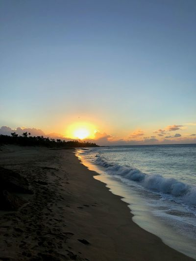 Marked Puerto Rico Puertorico Beach Sea Sunset Sand Scenics Tranquil Scene Nature Shore Beauty In Nature Water Tranquility Wave Sun No People Outdoors Horizon Over Water Sky Vacations Clear Sky