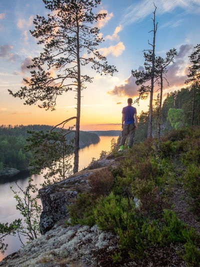 Scenic landscape with woodland, lake view and men standing at summer evening in Finland Water Plant Beauty In Nature Sky Real People Scenics - Nature Nature Cloud - Sky Lifestyles Standing Men Sunset Tranquility Leisure Activity Tranquil Scene Non-urban Scene Growth One Person Outdoors Tree Landscape Finland Atmospheric Mood Man Hike Hiking Tranquility Summer River Lake View Forest WoodLand Purity Nature