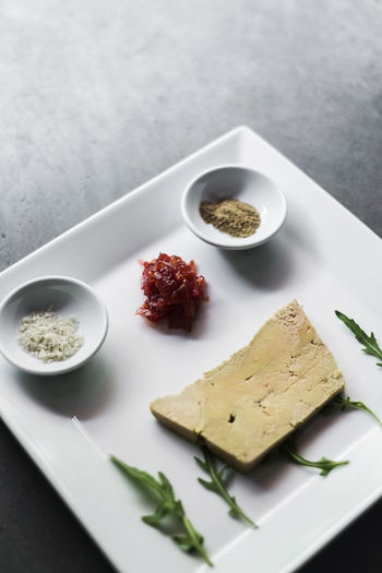 Foie gras pate french starter food Foie Gras Set Snack Tapas Appetizer Close-up Duck Liver Food Food And Drink French French Food Freshness Gourmet Food Healthy Eating High Angle View Indoors  Liver Pate No People Pate Plate Ready-to-eat Starter Table