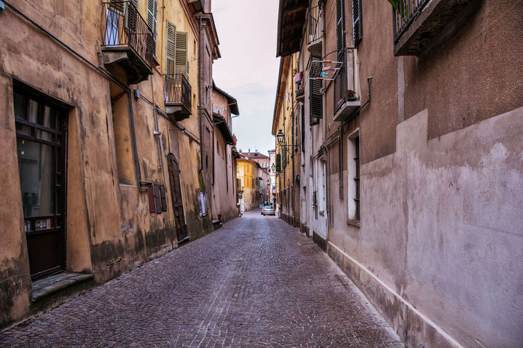 Alley Architecture Building Exterior Built Structure Day Italy No People Old Town Outdoors Residential Building Saluzzo  Sky Street The Way Forward Window