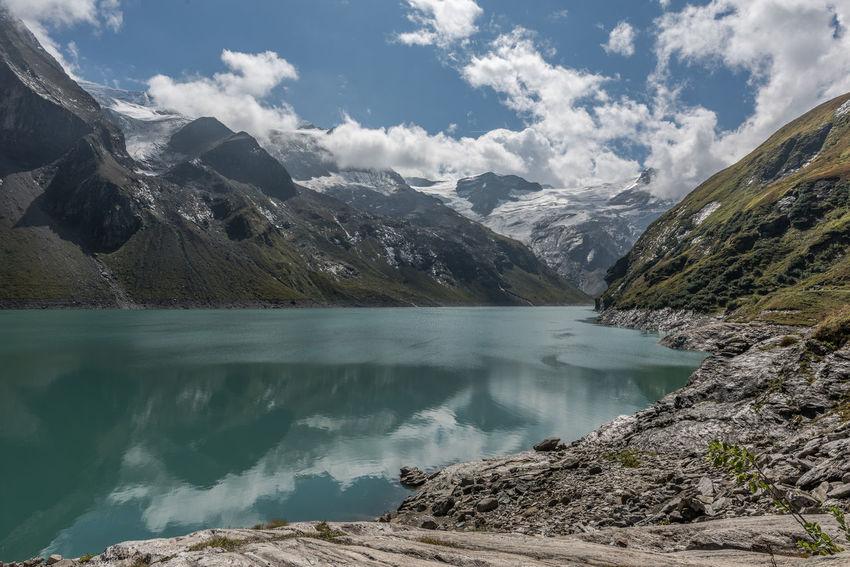 Himmel Hochgebirge Hochgebirgsstausee Hohe Tauern Landschaft Mooserboden Salzburger Land Stausee Wolken Gebirge Kaprun Österreich