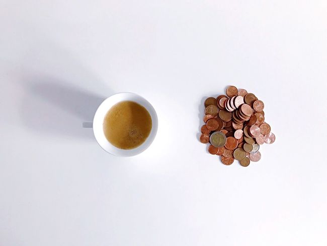 Coffee Cup Coffee - Drink Drink Food And Drink Refreshment Directly Above Still Life Cup White Background Freshness Studio Shot Table High Angle View No People Saucer Indoors  Close-up Food Frothy Drink Flower