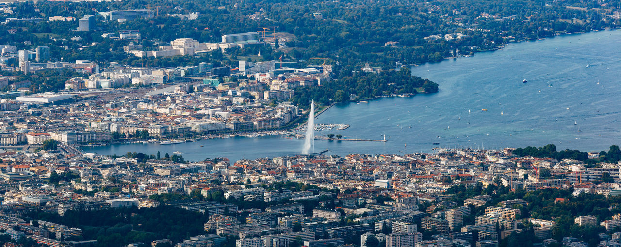 Geneva city center aerial Geneva Geneva Lake Geneve Panoramic Aerial View Architecture Building Building Exterior Built Structure City Cityscape High Angle View Lake Geneva Nautical Vessel Outdoors Residential District Sailboat TOWNSCAPE Transportation Water