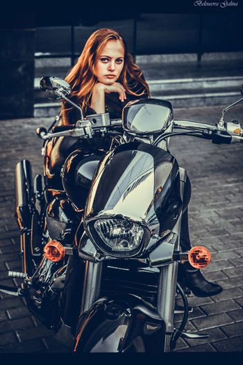 Adult Beautiful Woman Day Land Vehicle Lifestyles Mode Of Transport Motorcycle One Person One Young Woman Only Outdoors People Portrait Real People Sitting Transportation Young Adult Young Women