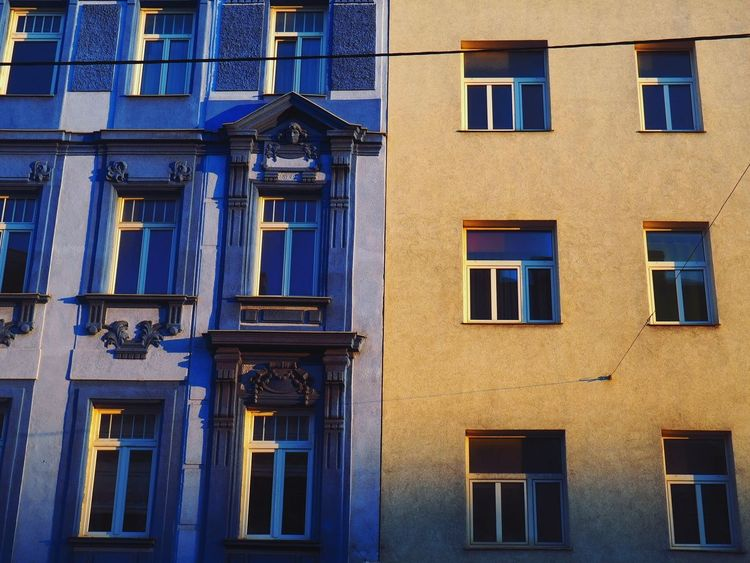 Window Architecture Building Exterior Built Structure Outdoors Blue Day No People Yellow Color Complementary Colors Blue Color Old Architecture Modern Architecture Minimalist Photography  Minimalist Architecture Eclectic Photos Eclectic Sun The Week On EyeEm Vienna