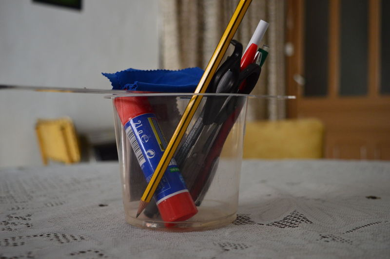 Stationery or school supplies on table