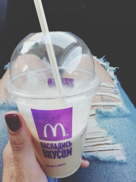 Macdonald's Human Hand Drink Drinking Glass Cola Drinking Straw Disposable Cup Drinking Studio Shot Cold Drink Close-up