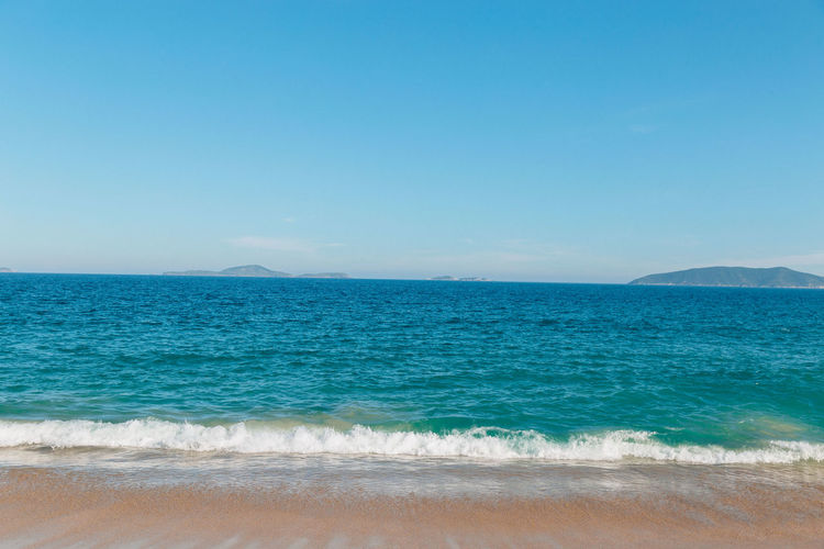 Praia das Caravelas Sea Water Beach Sky Beauty In Nature Land Scenics - Nature Tranquility Tranquil Scene Wave Clear Sky Blue Copy Space Motion Aquatic Sport Horizon Sport Idyllic No People Horizon Over Water Outdoors