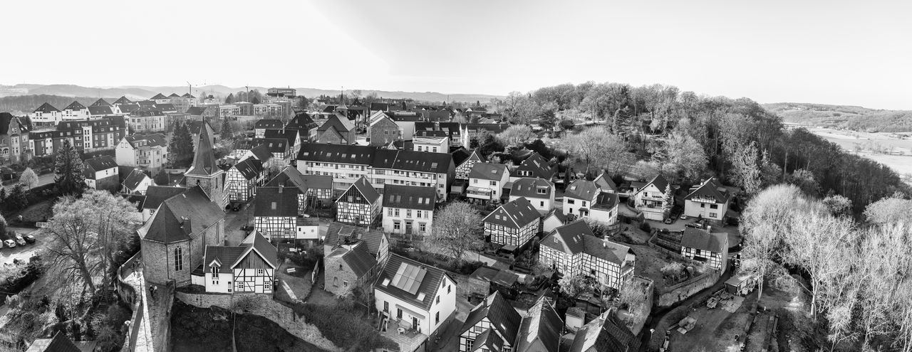 Blankenstein, GERMANY - FEBRUARY 15, 2017: From top of the tower of Burg Blankenstein one has a spectacular view over the historic town B&w Panoramic View Architecture Building Exterior Built Structure City Residential District Building High Angle View Cityscape Crowded Crowd Sky Panoramic Nature Day Plant Tree Town TOWNSCAPE House Outdoors Settlement