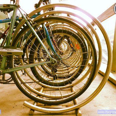 "Incredible german word for this bike rack: ""Fahrradabstellanlage "". You're welcome! Citycyclingschool Cycling Radfahren wien"