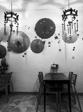 No People Indoors  EyeEmNewHere Blackandwhite Black And White Photography Lantern Umbrella Shop Restaurant Interior Design Restaurant Decor Monochrome Photography Monochrome Monochrome Collection