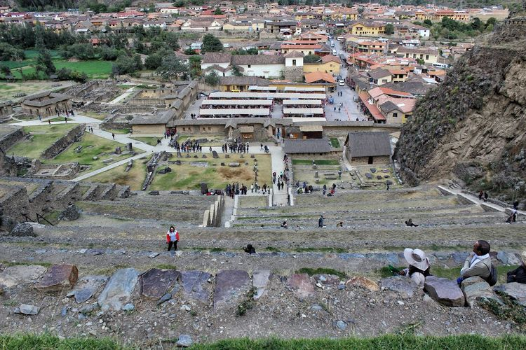 Archaeological park of Ollantaytambo Ancient Architecture Ancient Civilization Landscape Travel Travel Destinations Men High Angle View International Landmark