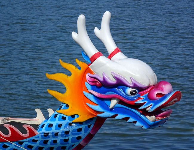 The figurehead of a dragon boat in Taiwan Boat Chinese Traditional Culture Dragon Boat Dragon Boat Festival Dragon Sculpture Dragonboat Figurehead Legend Monster