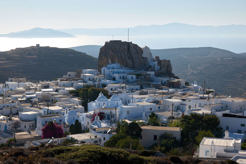 Amorgos Chora Amorgos Amorgos Chora Architecture Building Building Exterior Built Structure City Cityscape Day Greece High Angle View Mountain Mountain Range Nature No People Outdoors Residential District Sea Sky Town TOWNSCAPE Water