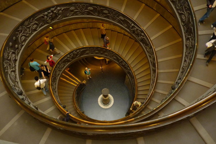 Moving Around Rome Vatican VaticanCity Architecture Built Structure Gold Colored Indoors  Spiral Spiral Stairs Staircase Steps Steps And Staircases Vatican Museum
