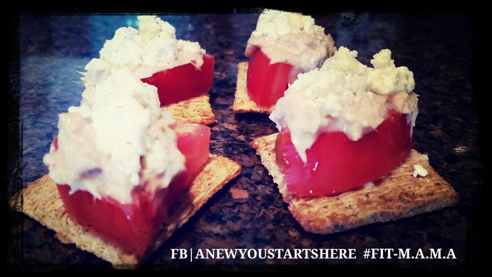 Fire Roasted Tomato and Olive oil Triscuit Fresh, Tomato, Tuna, Feta Cheese. Www.facebook.com/anewyoustartshere FIT-M.A.M.A Weightloss Fitlife Absaremadeinthekitchen
