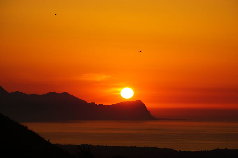 Sicilian Summer Sunset No Photoshop Sea, Mountain Range, Sun Silhouette Of Mountain Range Sony A6000 Stunning Sicilian Landscape Sun Going Down Behind Mountain Range Warm Colours Watching The Sun Go Down
