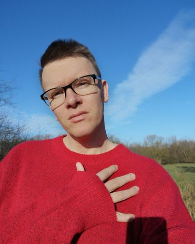 Gay Gaymen Gayselfie Gayman Eyeglasses  Portrait Red Athlete Headshot Sky Close-up Posing Sweater Glasses