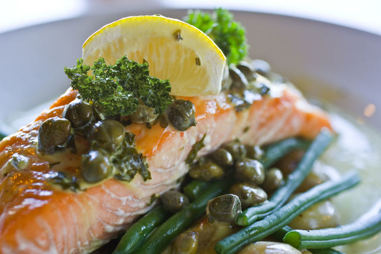 Close-up of fish served in plate