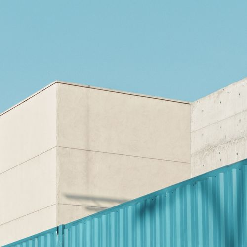 Geometry Urban Geometric Shape Urban Geometry Lines And Shapes Angles And Lines Simplicity Minimalism Blue Architecture Built Structure Building Exterior No People Wall - Building Feature Day Clear Sky Low Angle View Sky Building Outdoors Copy Space Pattern Turquoise Colored The Creative - 2019 EyeEm Awards The Creative - 2019 EyeEm Awards The Minimalist - 2019 EyeEm Awards